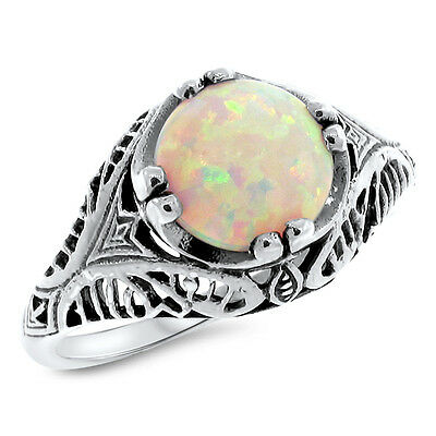 Vintage Antique Style .925 Sterling White Lab Opal Silver Ring,     #800
