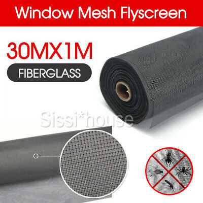 100ft / 30m Roll Insect Flywire Window Fly Screen Net Mesh Fibreglass Flyscreen
