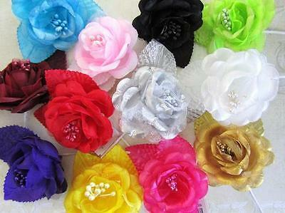 "12 Poly Silk/Mesh 2"" Rose Flower Bouquet Brooch/Wedding Floral Craft/Corsage F67"