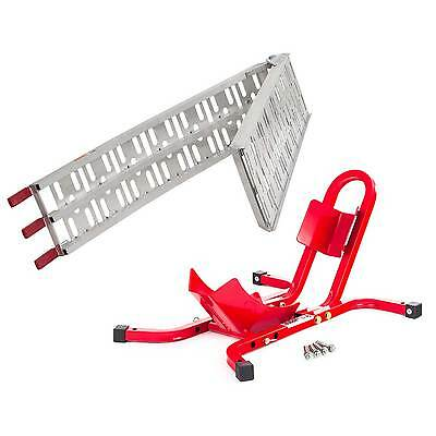 Warrior Bike / Motorcycle Aluminium Folding Loading Ramp And Wheel Chock Combo