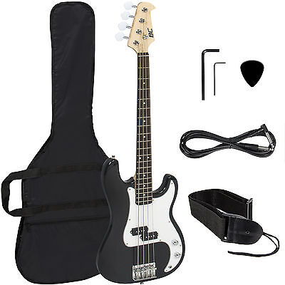 Black Electric Bass Guitar Including Strap, Guitar Case, Amp Cord and More