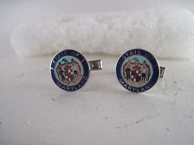 Maryland  State Seal cloisonne  logo cufflinks (d18  18 )