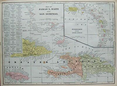 1901 Antique CARIBBEAN Map JAMAICA Map Haiti San Domingo Gallery Wall Art 1537