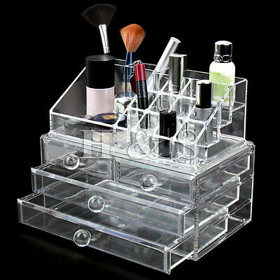 Acrylic Clear Makeup Organiser Cosmetic Jewellery Storage Case Box 4 Drawer ---L