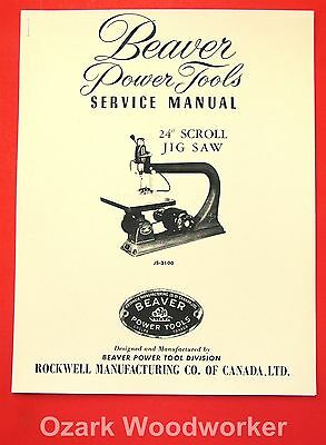 """BEAVER-Rockwell 24"""" Jig-Scroll Saw JS-3100 Owner's & Parts Manual 1068"""