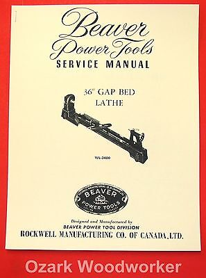 "BEAVER-Rockwell 36"" Gap Bed Wood Lathe WL-3400 Parts Owner's Manual 1069"