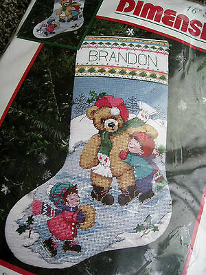 Dimensions Christmas Needlepoint Stocking Kit,SKATING BEAR FRIENDS,Morehead,9098