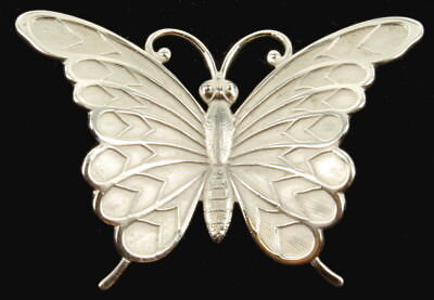 """Vintage Sterling Brushed Silver & Brite Silver Butterfly Beau Pin  2"""""""