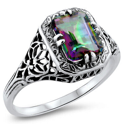 Mystic Hydro Quartz .925 Sterling Antique Style Silver Ring,    #810