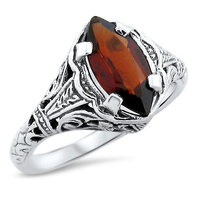 Genuine Garnet .925 Sterling Silver Antique Design Ring,            #818