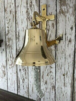 "8"" Brass Anchor Bracket Ship Bell w/ Rope Lanyard ~ Nautical Maritime Wall Decor"