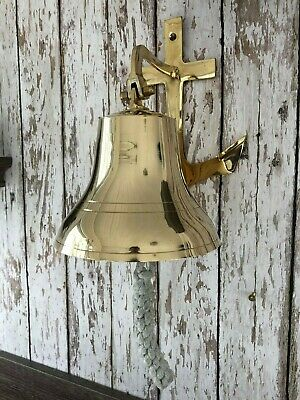 "8"" Brass Anchor Bracket Ship Bell  ~ Nautical Maritime Wall Decor"
