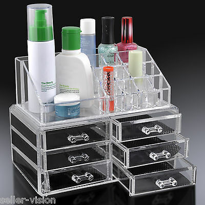 Acrylic Desk Cosmetic Makeup Holder Lipstick Nail Varnish Organiser Storage Box