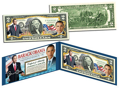 BARACK OBAMA USA PRESIDENT Official Colorized Legal Tender Colorized US $2 Bill