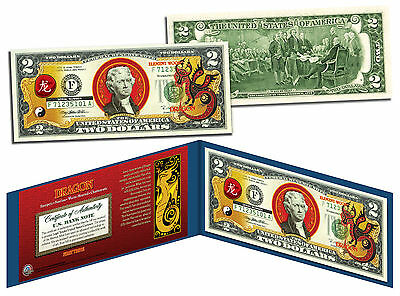 Chinese Zodiac * YEAR OF THE DRAGON * Colorized $2 Bill US Lucky Money New Lunar