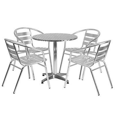 4 Sets Of 27.5'' Round Aluminum Indoor-Outdoor Table With 4 Slat Back Chairs