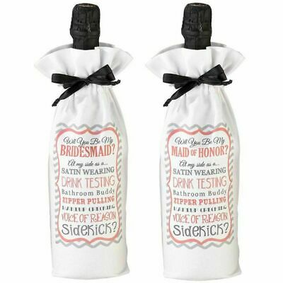 New Will You Be My Bridesmaid Maid of Honor Wine Bottle Bag Wedding Favour Gift