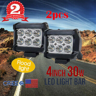 2PCS 4inch 30W CREE LED Work Light Bar Car Driving Lamp Spot Truck Offroad 12V