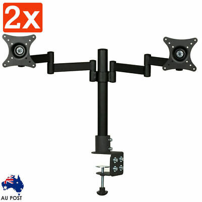 2x Dual HD LED Desk Monitor Stand Mount Bracket 2 Arms Holds Two LCD Screen TV