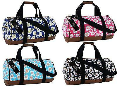 Canvas Travel Holdall Duffel Weekend Overnight Daisy Floral Print Bag Bags Q6151