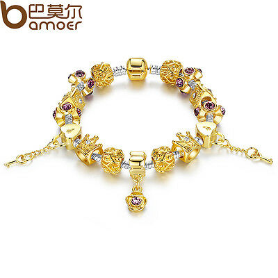 Luxury DIY Gold European Charms Bracelet With Flowers CZ Beads Fit Women Jewelry