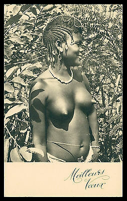 AFRICA - Black Women with traditional hair postcard
