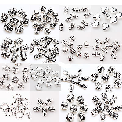 50/100Pcs Tibet Silver Plated Loose Spacer Beads Craft Jewelry Findings DIY
