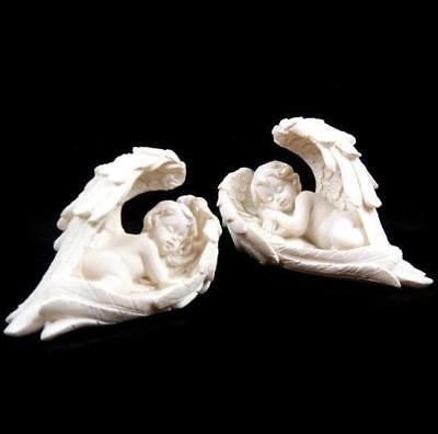 New Pair Ornaments 2 Sleeping Angels Cherubs In Wings Feathers Che02