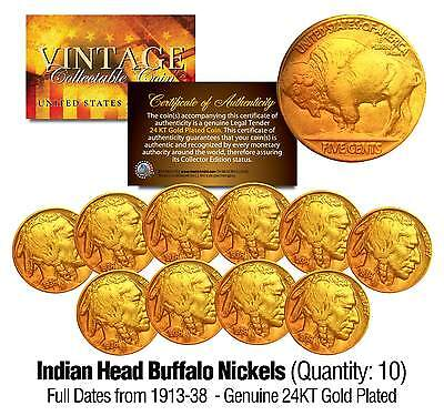 Full Date BUFFALO NICKELS U.S. Coins * 24K Gold Plated * Indian Head (Lot of 10)