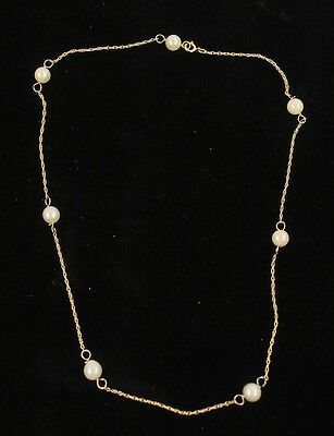 Vintage 14K Gold Pearl Station Necklace Delicate Choker 16 In 2.88G