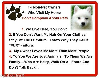 Funny Dog American Eskimo House Rules Refrigerator / Magnet Gift Card Idea