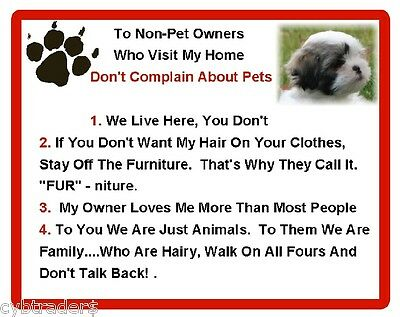 Funny Dog Shih Tzu House Rules Refrigerator / Magnet Gift Card Idea