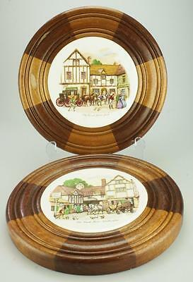Set of 2 Round Ceramic Tiles English Coach House Scenes in Timber Frames KC23