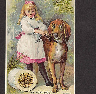 1800's Weimaraner Merrick Sewing Thread hunting hound dog Advertising Trade Card