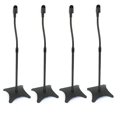 4x BLACK STEEL HEIGHT ADJUSTABLE HOME CINEMA SURROUND SOUND SPEAKER STANDS