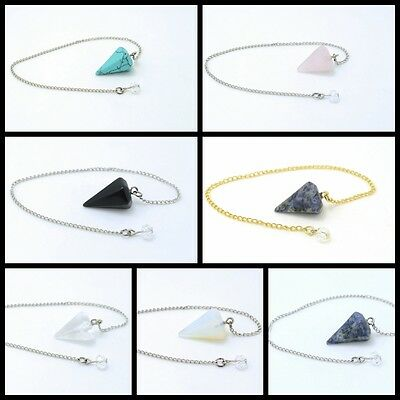 2017 Natural Clear Quartz Crystal Point and Heart  Chakra Stone Chain Pendulum