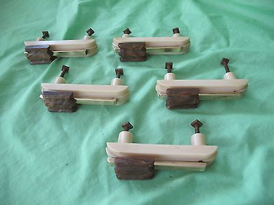 Set 5 antique reclaim art deco period bakelite & brass door drawer pull handles