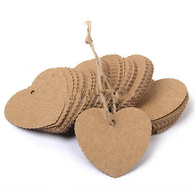100 Brown Kraft Paper Gift Tags Christmas Heart Label Blank xMAS String Brown