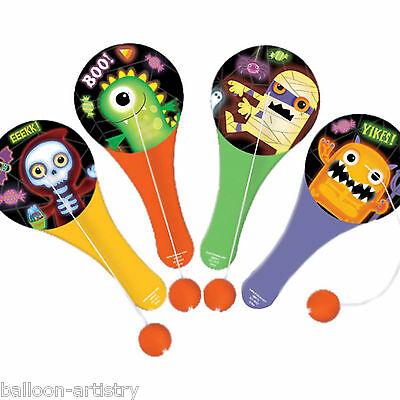 12 Boo Buddies Monsters Halloween Party Loot Favours Paddle Ball Toys