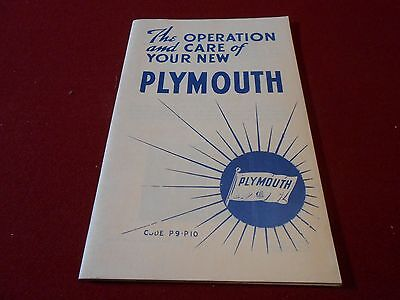 1940 Plymouth P9 P10 Owner Manual / '40 Operation & Care Book