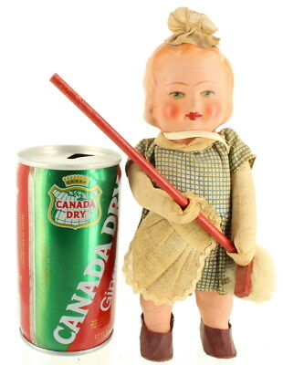 """Vintage Horo Composite Wind Up Toy Doll Girl Sweeping Broom West Germany 8"""""""