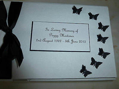 Personalised Condolence Bereavement memorial guest book black butterflies white