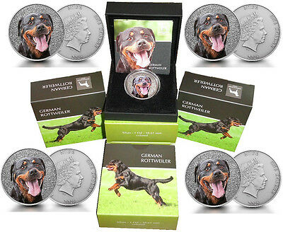 5 x Niue 1 Oz Silber German Rottweiler 2015 Etui *Watch and Guard Dogs Serie*