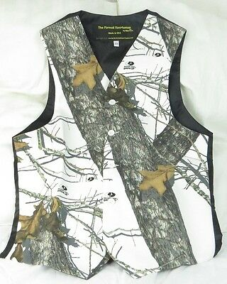 Mossy Oak Winter Brush White Camo Formal  Wedding Full Back Children kids Vest