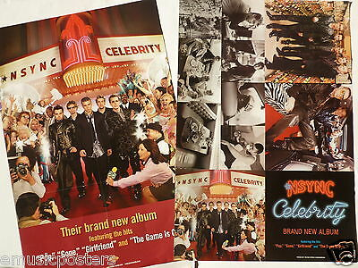 "N'SYNC ""CELEBRITY"" U.S. PROMO 2-SIDED POSTER - Justin Timberlake, Boy Band Music"