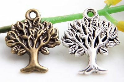 Lead-free Wholesale 20//45Pcs Tibetan Silver// Bronze  Tree Charms22x17mm