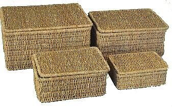 Woodluv Seagrass Storage Basket Box With Lid Small Medium Large Extra Large