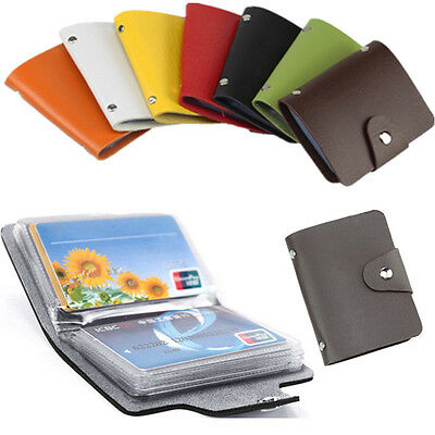 Men's PU Leather Pocket Business ID Credit Card Holder Case Wallet for 24 Card
