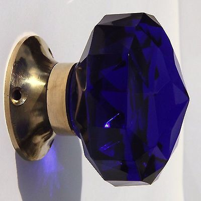 Cobalt Blue mortice  door knob (single ) large  cut glass polished brass base