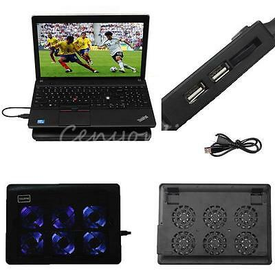 New 6 Fans Blue LED Ultra Slim Silent Cooler Cooling Pad for Laptop Notebook PC